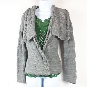 Kenar, grey cable knit fitted cardigan